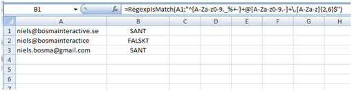 Working with regular expressions in Excel