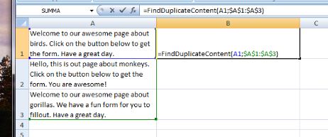 Using the FindDuplicateContent formula