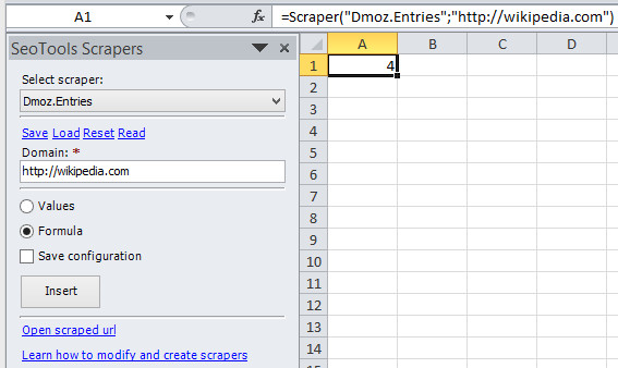 Retrieve number of Dmoz entries of a domain as a formula in Excel.