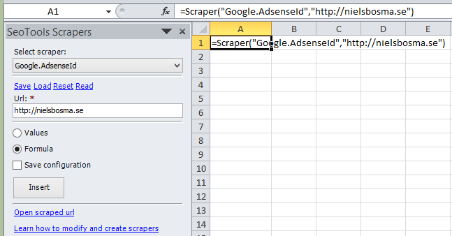 Fetch the Google Adsense Id used on a webpage as a formula in Excel.