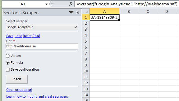 Scrape a webpage and retrieve it's Google Analytics Id as a formula in Excel.