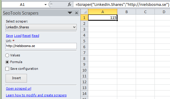 Retrieve number of LinkedIn shares of an url as a formula in Excel.