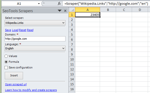 Retrieve number of links to domain from Wikipedia as a formula in Excel.