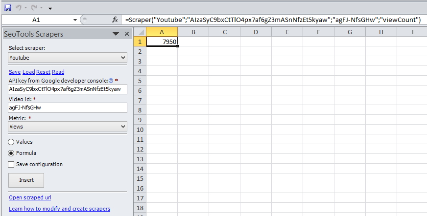 Retrieve metrics like number of views and likes for a YouTube video as a formula in Excel.