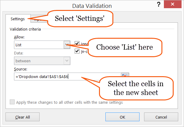 Data validation in Excel
