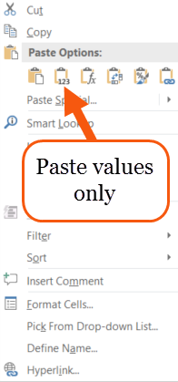 How to paste values only