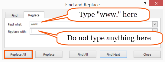 Finding and replacing text in Excel
