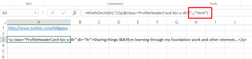 Extract Web Elements with XPath in Excel