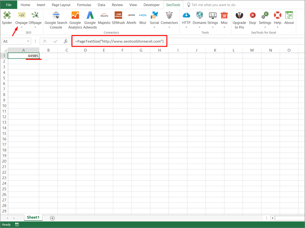 Results from function inside Excel