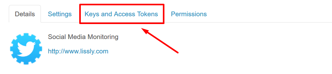 Keys and access tokens button