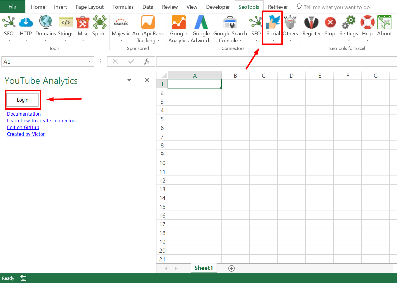 Connector location in Excel