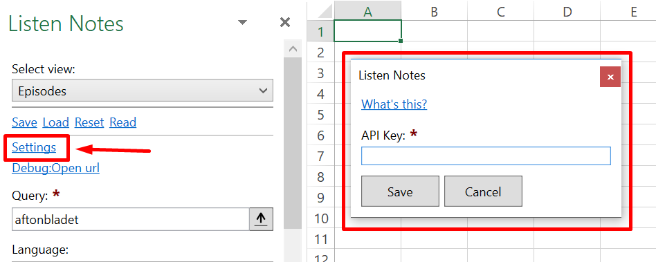 Paste credentials in Excel